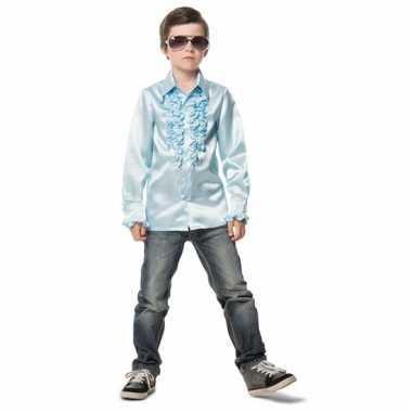 Lichtblauwe disco blouse voor jongens