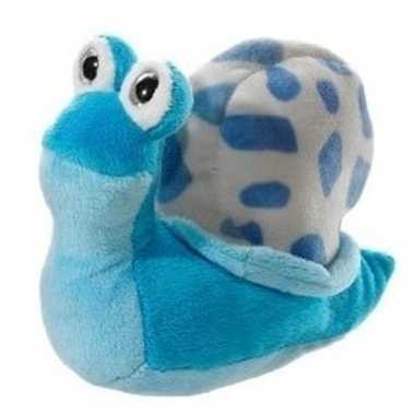 Lichtblauwe pluche slak knuffel 16 cm