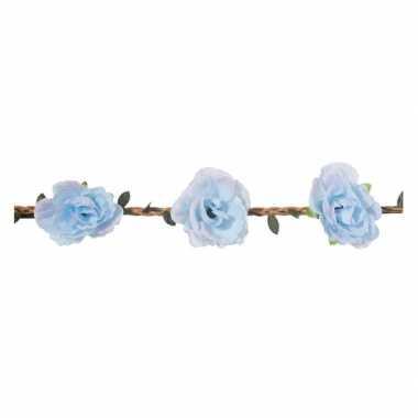 Lichtblauwe rozen festival/hippie haarband voor dames