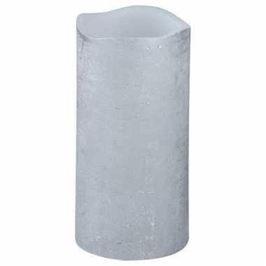 Lichtjesavond led kaars zilver 15 cm