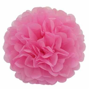 Lichtroze bloem pompom 35 cm