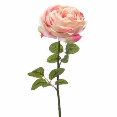 Lichtroze roos kunstbloem 66 cm