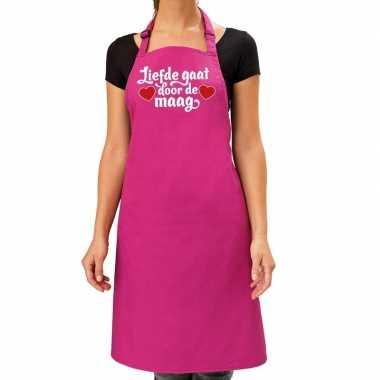 Liefde gaat door de maag keukenschort roze dames / moederdag