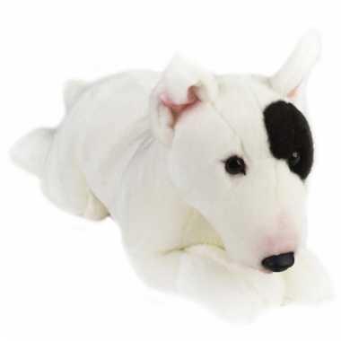 Liggende bull terrier hondje knuffeldier 36 cm
