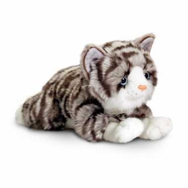 Liggende grijze katten knuffel 35 cm