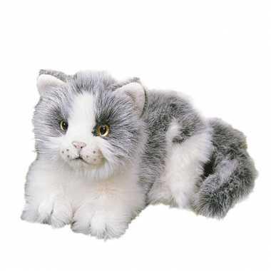 Liggende katten wit grijs pluche 20 cm