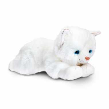 Liggende witte katten knuffel 35 cm