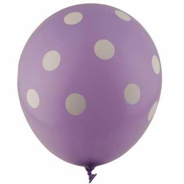 Lila ballonnen met witte stippen 30 cm 5st