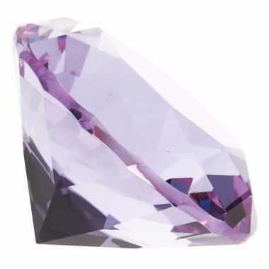 Lila nep diamant 5 cm van glas