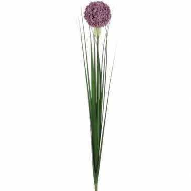 Lila paarse allium/sierui kunstbloem 80 cm