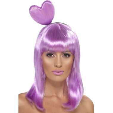 Lila paarse damespruik met hart