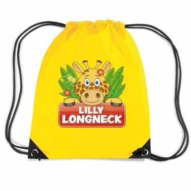 Lilly longneck de giraffe rugtas / gymtas geel voor kinderen