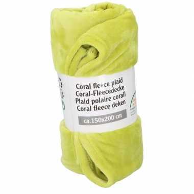 Lime groene fleece deken 150 x 200 cm