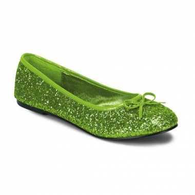 Lime groene glitter ballerina schoenen met strik