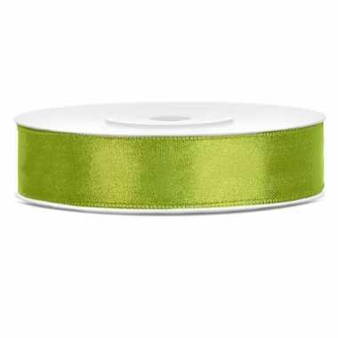 Lime groene kadolinten satijn 12 mm