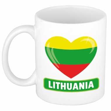 Litouwese vlag hartje koffiemok 300 ml