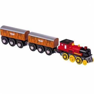 Locomotief met 2 wagons op aaa batterij