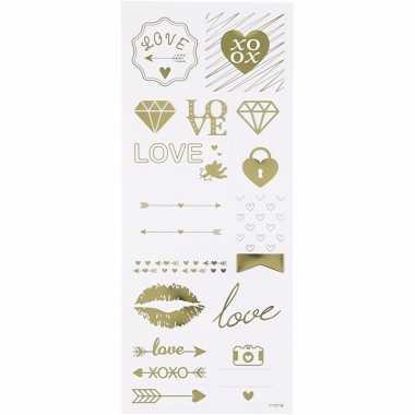 Love stickers goud 14 stuks