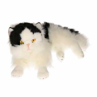 Luie liggende zwart/witte katten knuffel