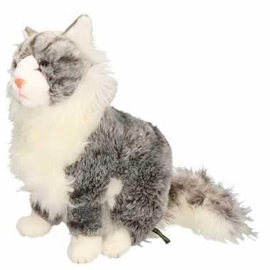 Luie zittende grijze katten knuffel