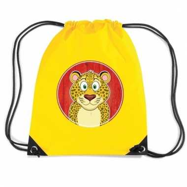 Luipaarden rugtas / gymtas geel voor kinderen