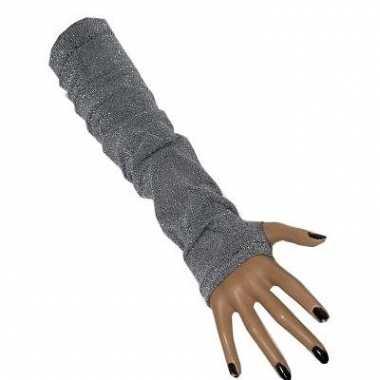 Lurex handschoenen zilver