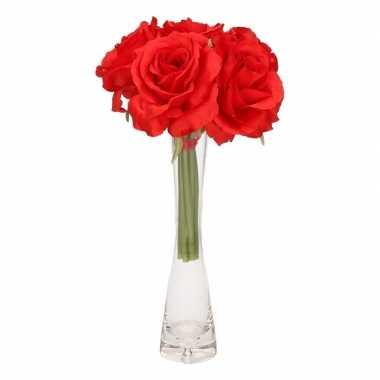 Luxe boeket rode rozen met glazen vaasje 20 cm