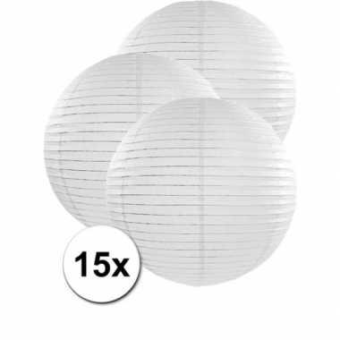 Luxe bol lampionnen wit 15x stuks van 50 cm