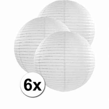Luxe bol lampionnen wit 6x stuks van 50 cm