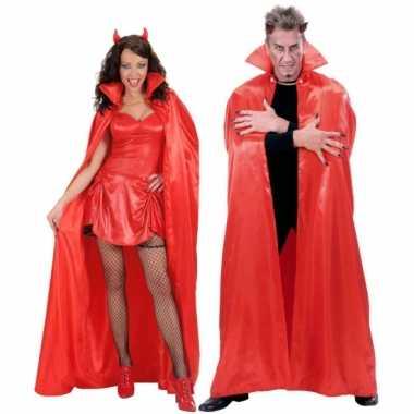 Luxe cape van rood satijn 158 cm