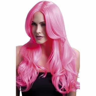 Luxe dames pruik neon roze met pony krullen