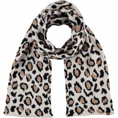 Luxe gebreide kindersjaal met luipaard print beige