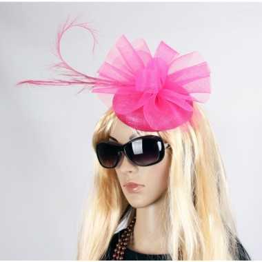 Luxe grote roze hoed voor dames