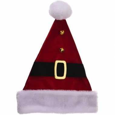 Luxe kerstmuts met riempje 40 cm