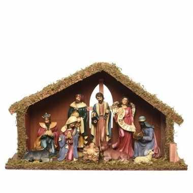 Luxe kerststal met 9 kerst figuren 23 cm