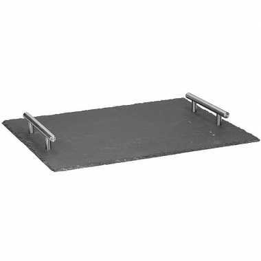 Luxe leisteen serveerplank / dienblad met handvatten