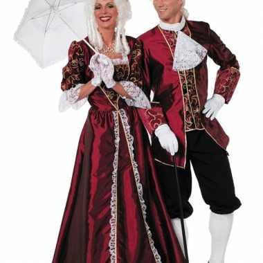 Luxe markiezin jurk bordeaux voor vrouwen
