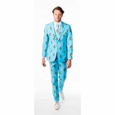 Luxe pak voor heren met tulpen print