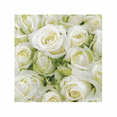 Luxe servetten met witte rozen