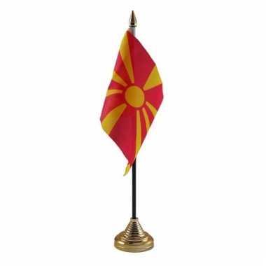 Macedonie tafelvlaggetje 10 x 15 cm met standaard
