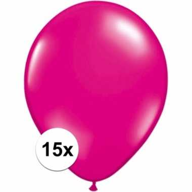 Magenta roze ballonnetjes 15 stuks