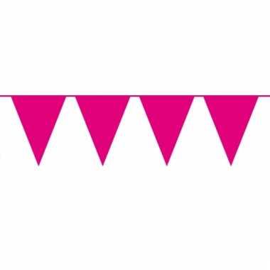 Magenta roze slinger met vlaggetjes 10 meter