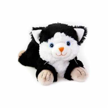 Magnetron zwart/witte kat knuffeldier 18 cm