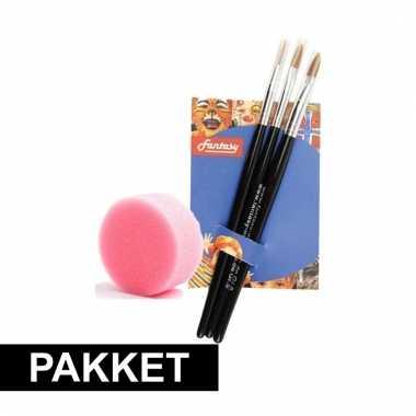 Make-up spons met 3 penselen