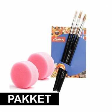 Make-up sponsen met 3 penselen