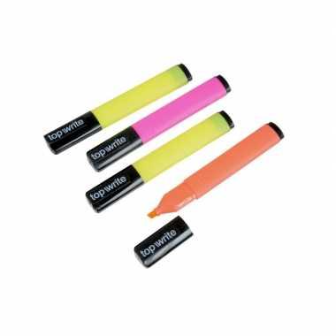 Markeerstift fluorescerende kleuren set van 4