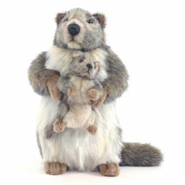 Marmot met kindje knuffel 35 cm
