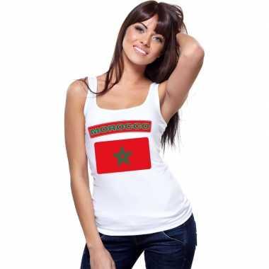 Marokaanse vlag singlet wit dames