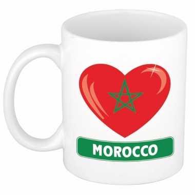Marokkaanse vlag hartje koffiemok 300 ml