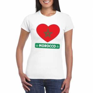 Marokkaanse vlag in hartje shirt wit dames